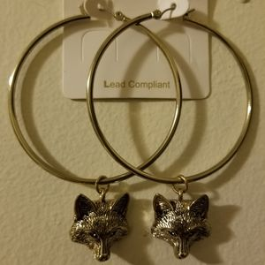 Silver Wolf Hoop Earrings NWT